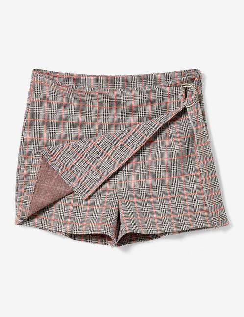 jupe short à carreaux rose et grise