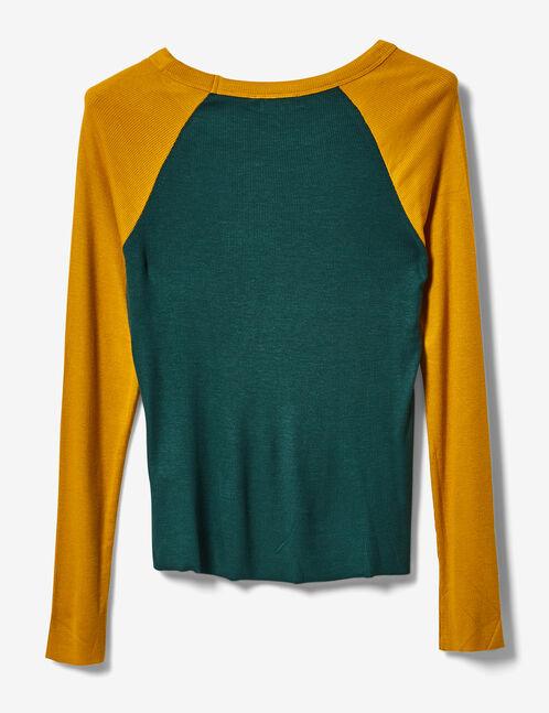 tee-shirt bicolore à message vert et ocre