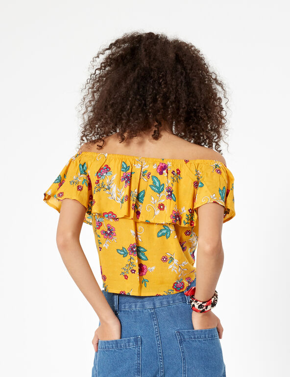 Ochre floral blouse with frill detail