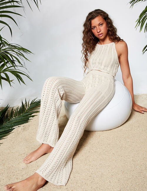 Flared crochet trousers