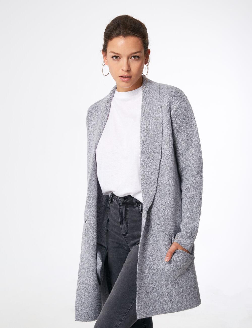 veste longue en laine gris chin femme jennyfer. Black Bedroom Furniture Sets. Home Design Ideas