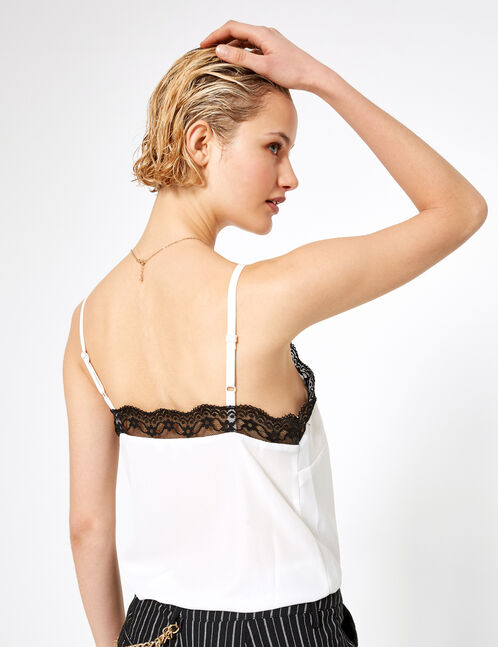 White and black blouse with lace detail