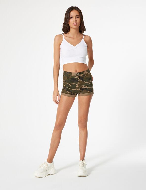 Khaki camouflage high-waisted skinny shorts