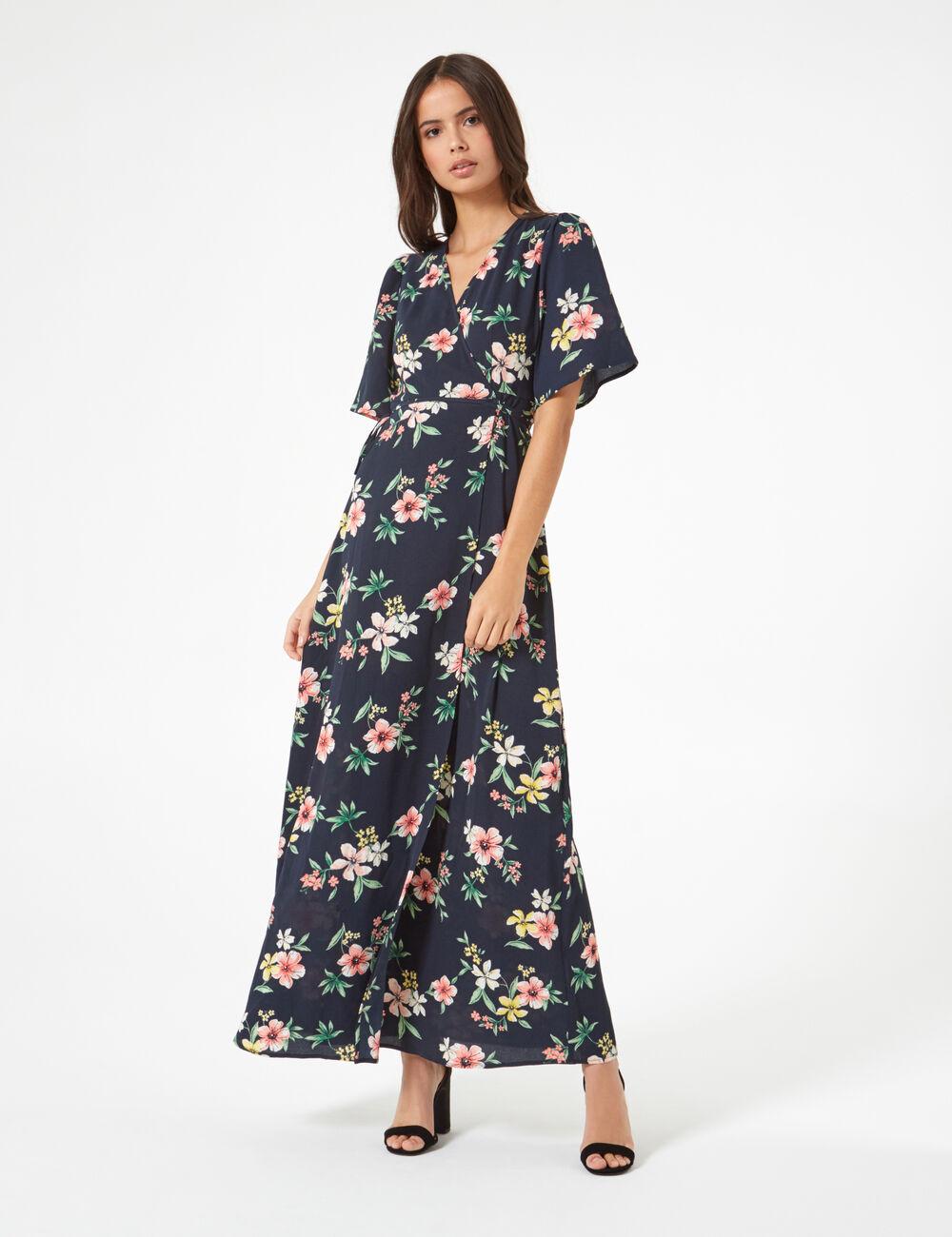 6ef2aca4f23 Robe longue fleurie bleue marine femme • Jennyfer