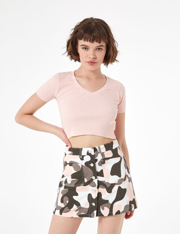 Button-up camouflage skirt