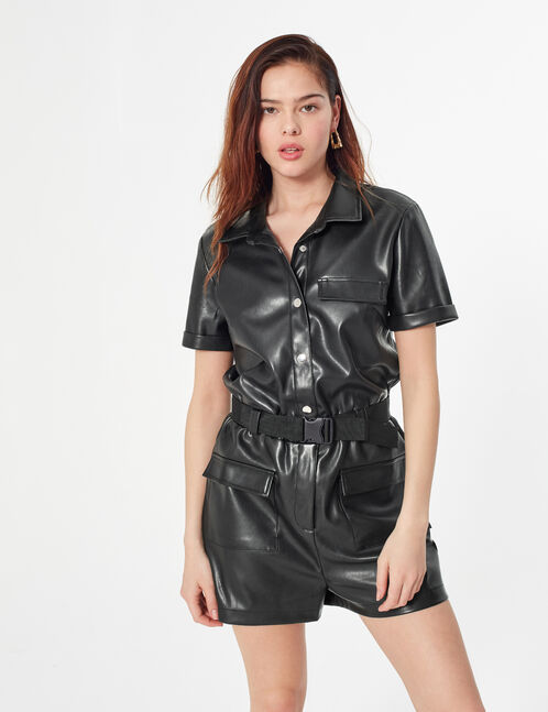 faux leather playsuit