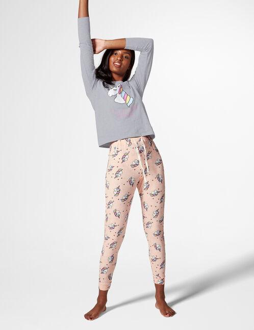 set pyjama licorne rose