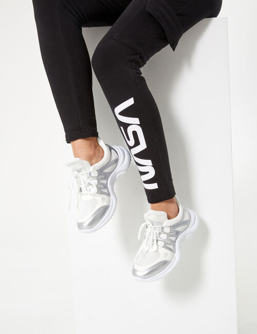 White and silver mixed fabric trainers