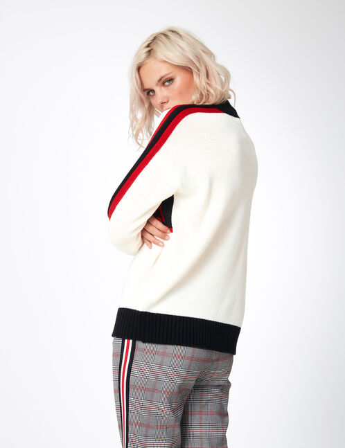 """White, red and black tricolour """"W.London"""" jumper"""