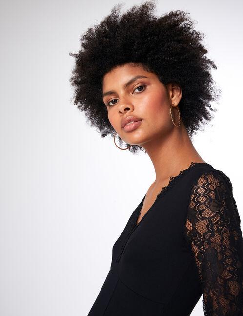 Black bodysuit with lace detail