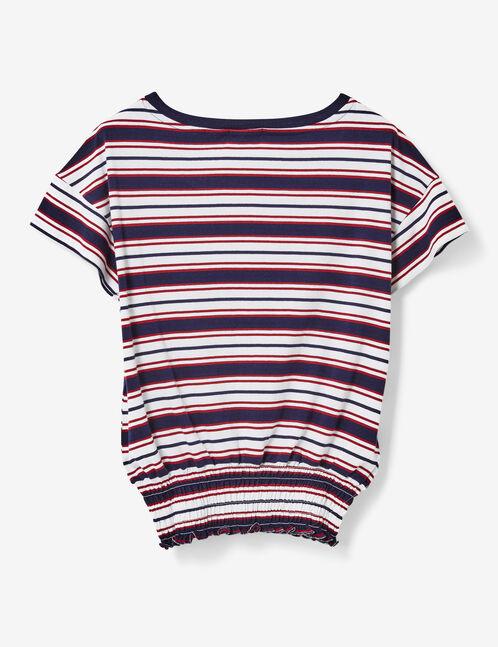tee-shirt rayé élastiqué écru, bleu marine et bordeaux