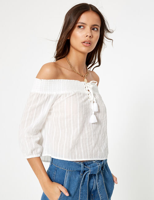 Cream off-the-shoulder blouse