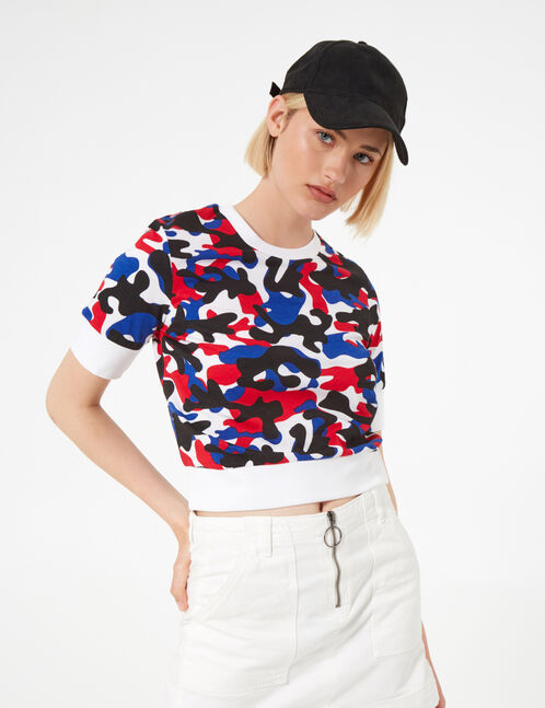 White, black, blue and red camouflage T-shirt