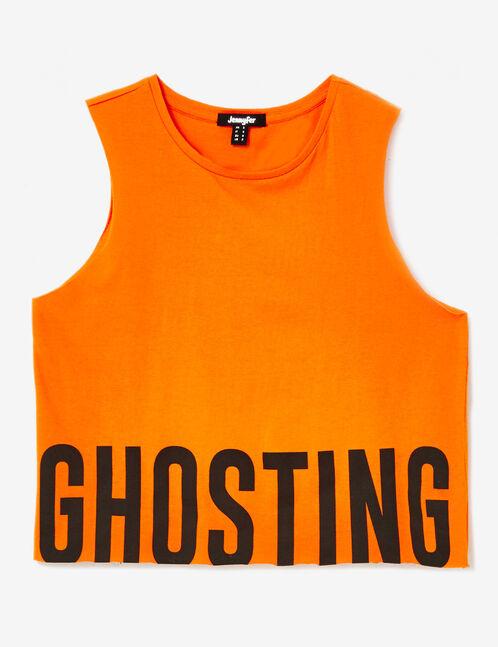 """Orange """"ghosting"""" tank top"""