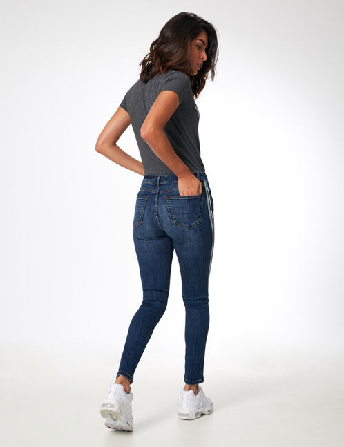 Medium blue jeans with side stripe detail