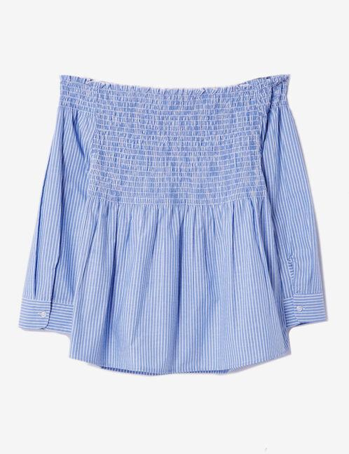 blouse rayé épaules dénudées bleu clair et blanche
