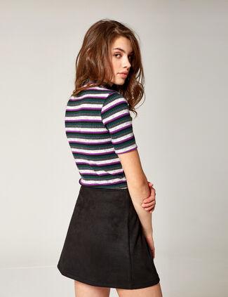 8aaa54612135e jupe boutonnée en suédine noire jupe boutonnée en suédine noire