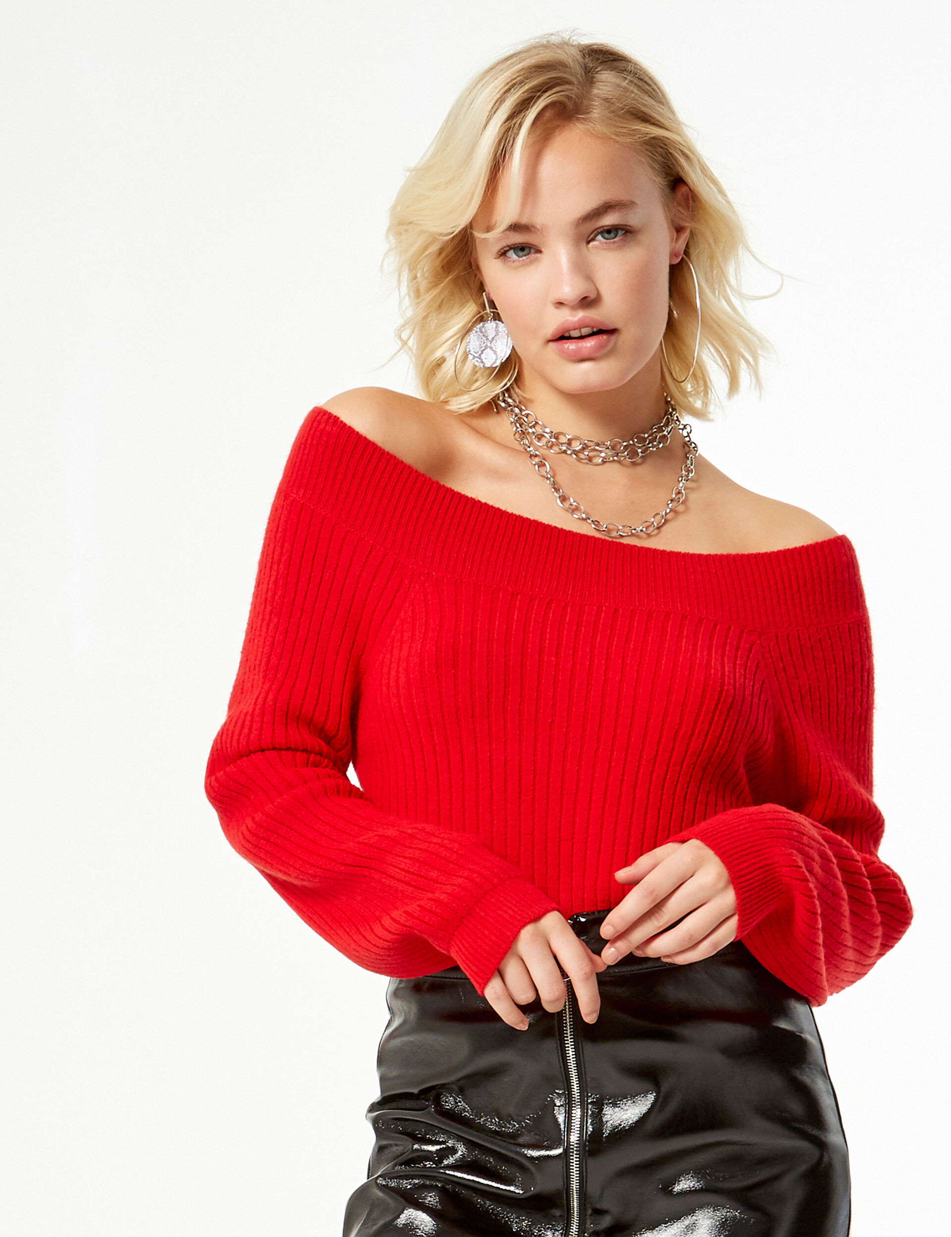 Off-the-shoulder rib-knit jumper