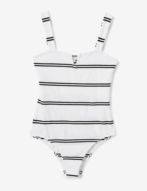 White and black striped bodysuit with V detail