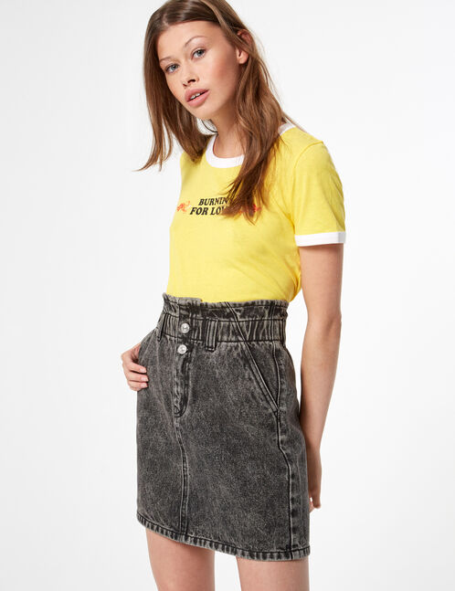 Elasticated denim skirt