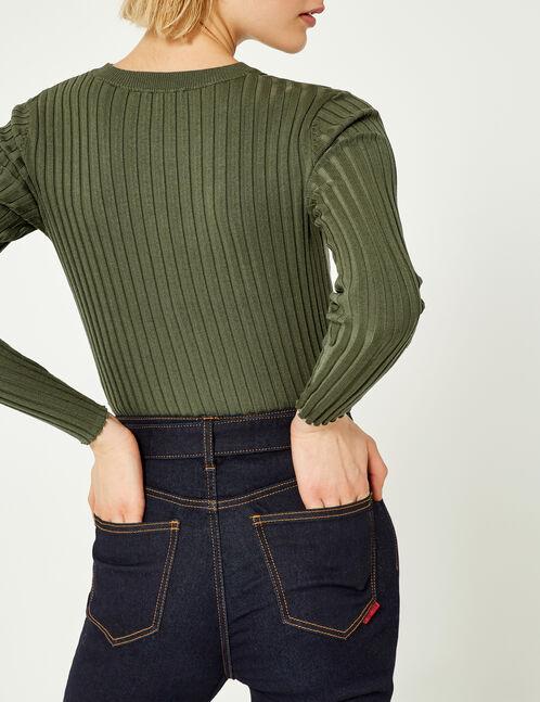 Khaki ribbed jumper
