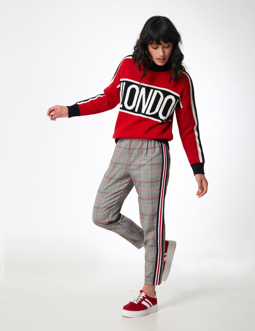 Grey, white and red tailored trousers with stripe detail