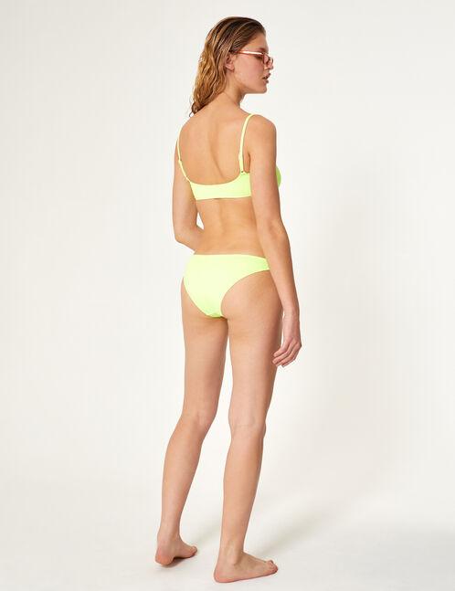 maillot de bain 2 pièces zippé jaune fluo et blanc