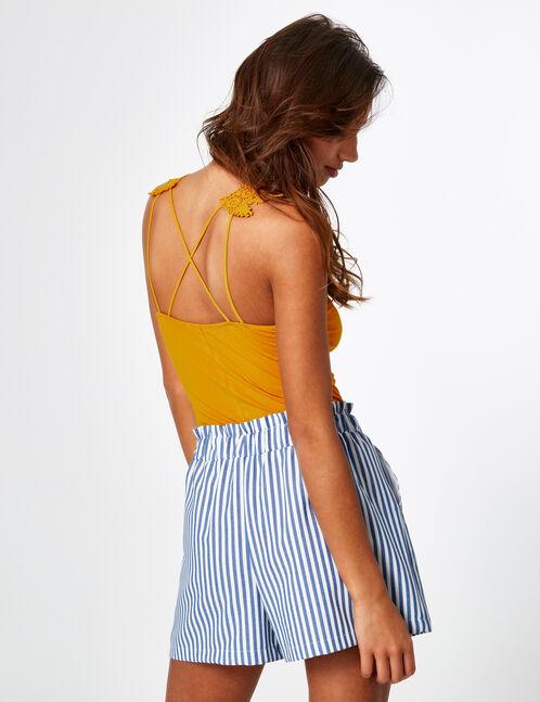 Blue and cream striped draped shorts