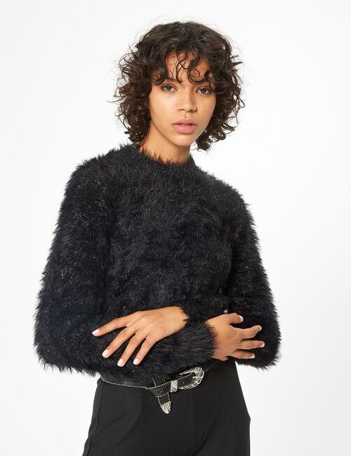 Cropped faux-fur jumper