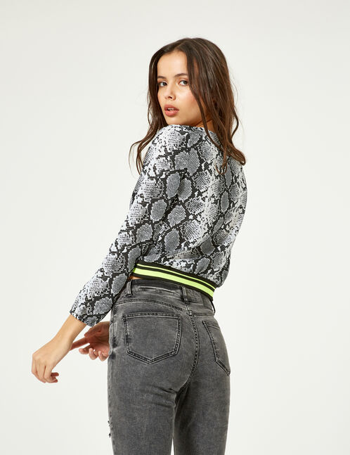 Black and white python print wrap blouse