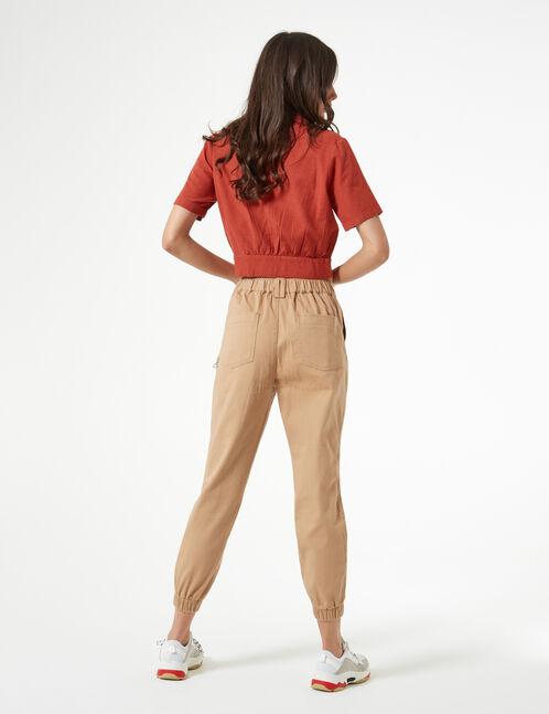 pantalon cargo avec chaîne beige