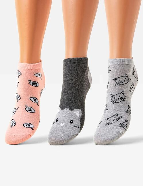 chaussettes fantaisies grises et corail