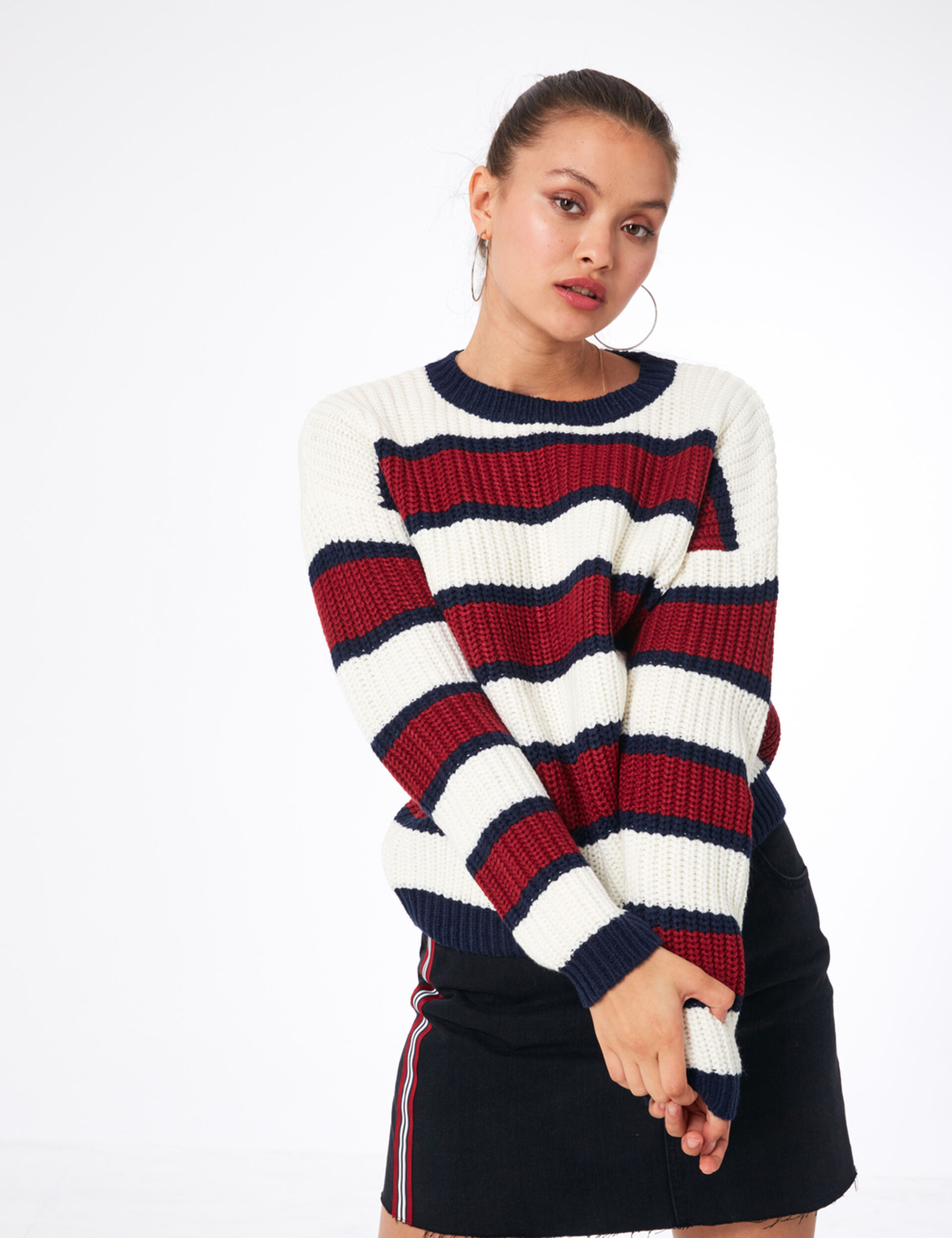 Cream, burgundy and navy blue striped jumper