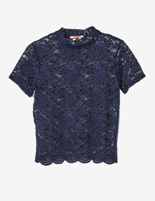 Navy blue lace T-shirt