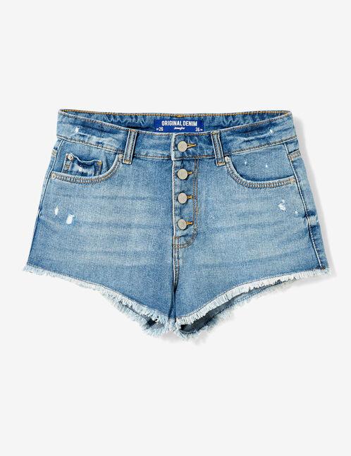 High-waisted light blue denim shorts