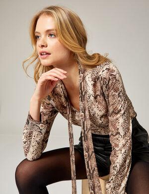 blouse col lavallière beige et marron