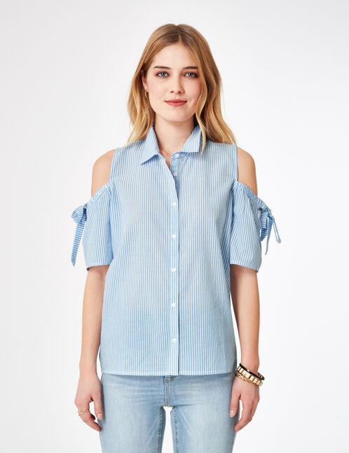Cream and light blue striped cold shoulder shirt