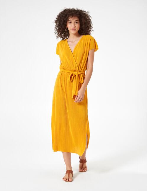 robe longue plissée ocre