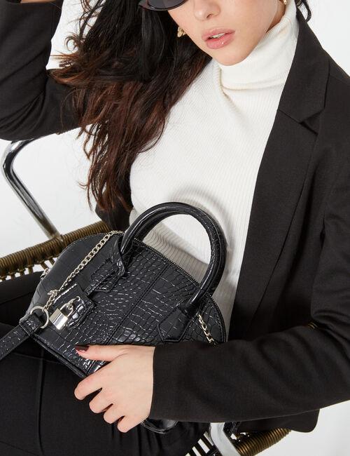 Faux snakeskin handbag
