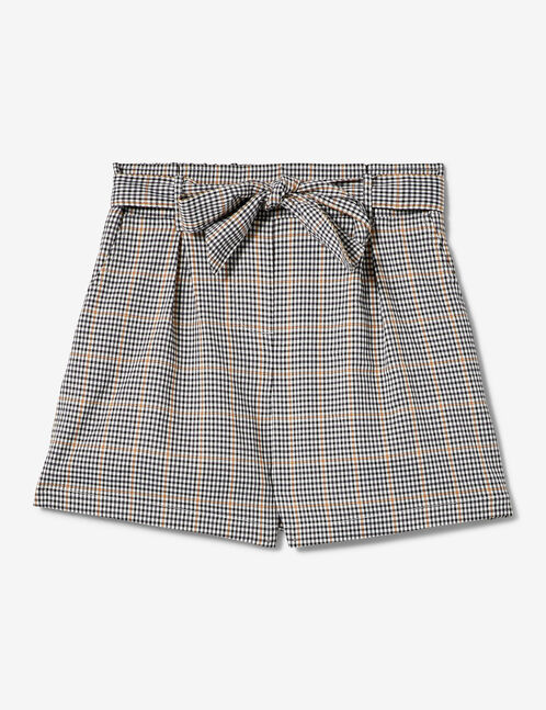White, black and beige checked shorts