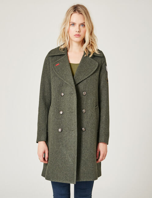 Khaki pea coat with patch detail