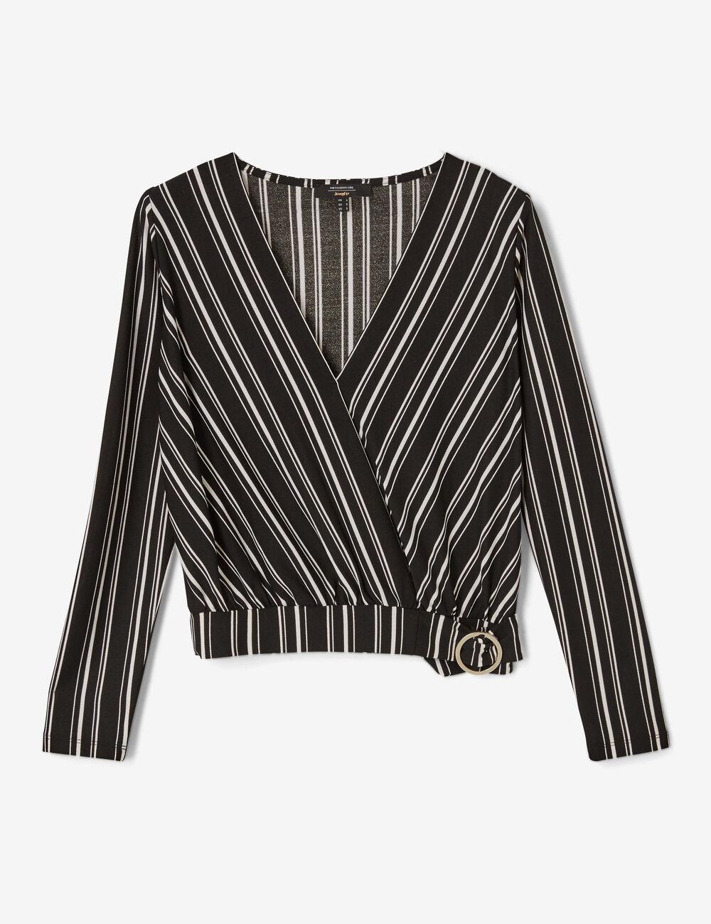 tee shirt avec ceinture noir et blanc femme jennyfer. Black Bedroom Furniture Sets. Home Design Ideas