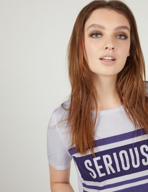 tee-shirt seriously violet et blanc