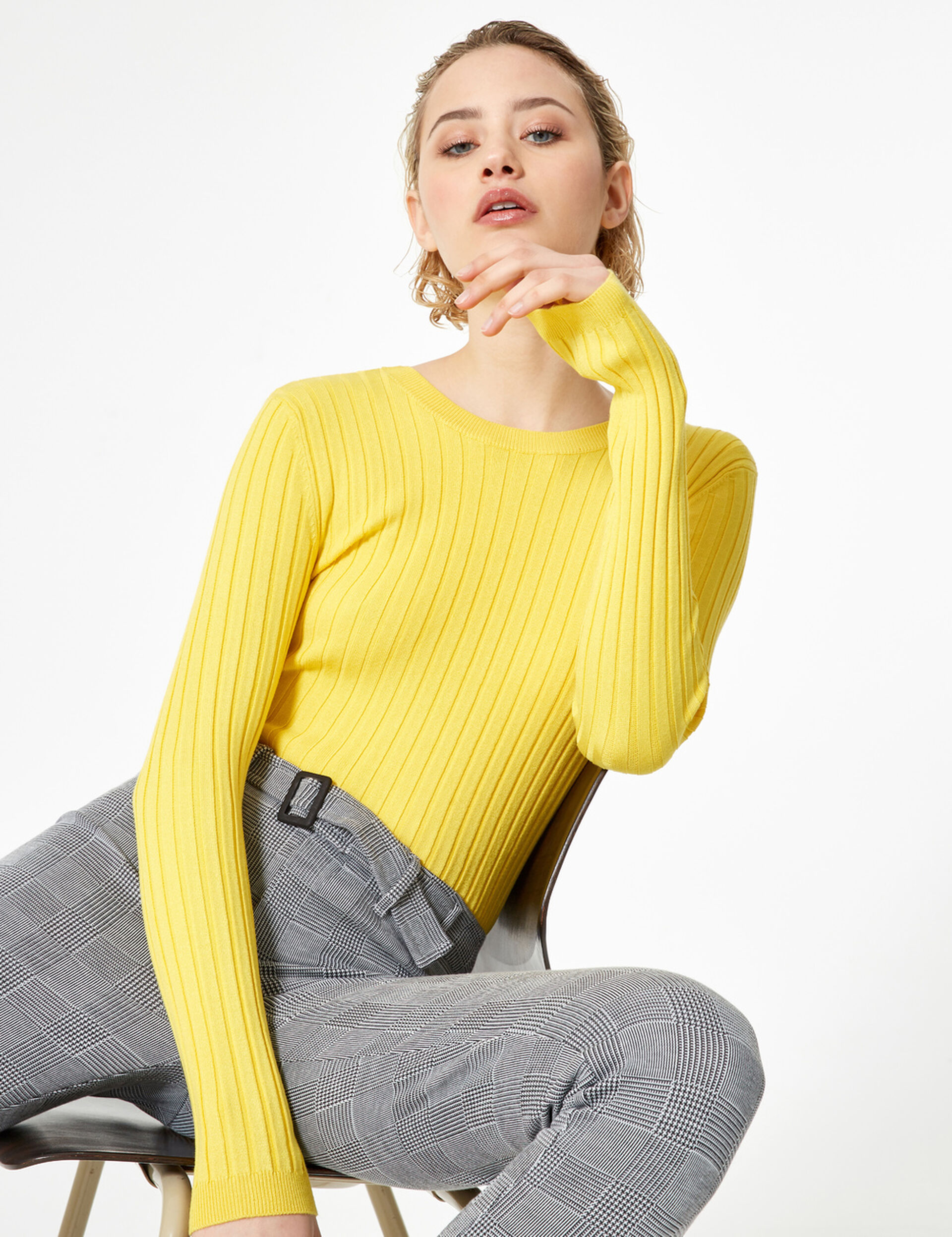 Pale yellow jumper with back lacing detail
