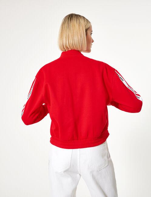 sweat zippé à message rouge et blanc