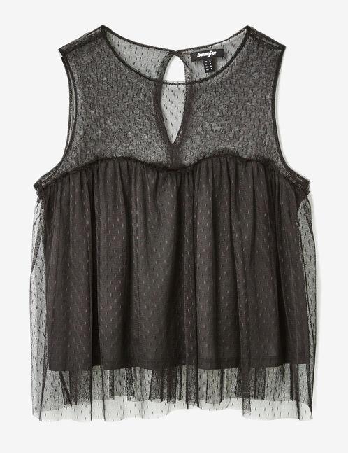 blouse effet plumetis noire
