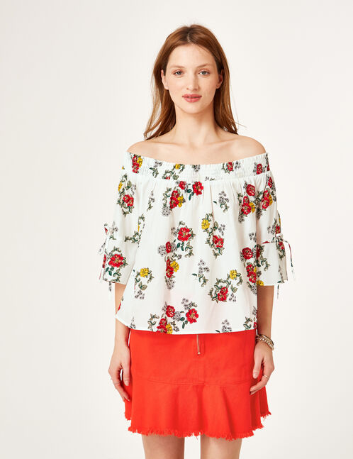 blouse fleurie blanche