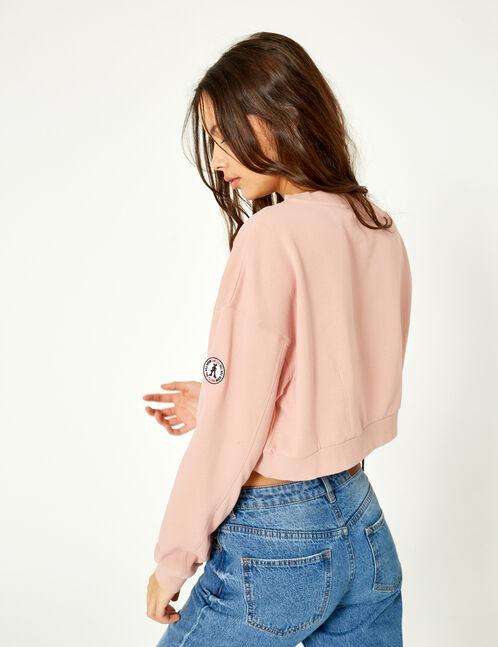 Cropped light pink sweatshirt