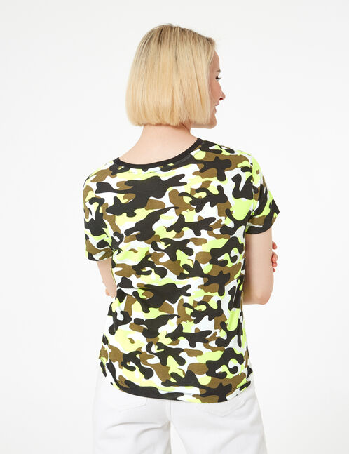khaki and neon yellow camouflage t-shirt