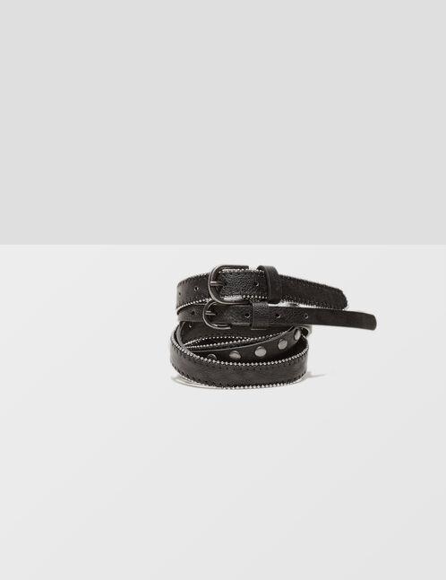 double ceinture cloutée noire